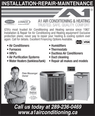 A1 Air Conditioning & Heating (416-657-4173) - Annonce illustrée - Call us today at 289-236-0469 www.a1airconditioning.ca