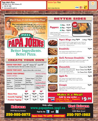 Papa John's Pizza (250-980-0838) - Menu