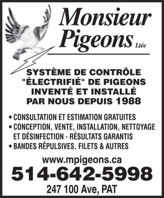 Monsieur Pigeons (2010) Inc (514-642-5998) - Annonce illustr&eacute;e