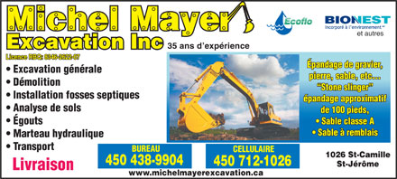 Michel Mayer Excavation Inc (450-990-0016) - Annonce illustrée