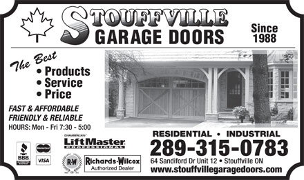 Stouffville Garage Doors (289-301-2267) - Display Ad - 289-315-0783