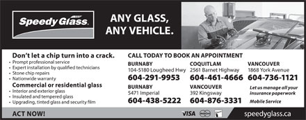 Speedy Glass (604-291-9953) - Display Ad