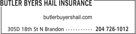Butler Byers Hail Insurance (204-726-1012) - Display Ad - butlerbuyershail.com