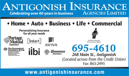 Antigonish Insurance Agencies Ltd (1-888-986-0321) - Annonce illustrée - Celebrating over 60 years in business Personalizing insurance for all your needs Celebrating over 60 years in business Personalizing insurance for all your needs