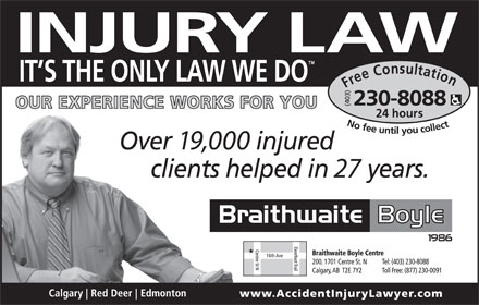 Braithwaite Boyle Accident Injury Law (403-230-8088) - Display Ad