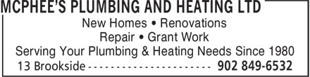 McPhee's Plumbing & Heating Ltd (902-849-6532) - Annonce illustrée - New Homes • Renovations Repair • Grant Work Serving Your Plumbing & Heating Needs Since 1980