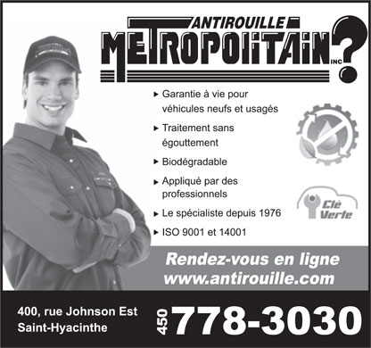 Antirouille Métropolitain (450-778-3030) - Display Ad