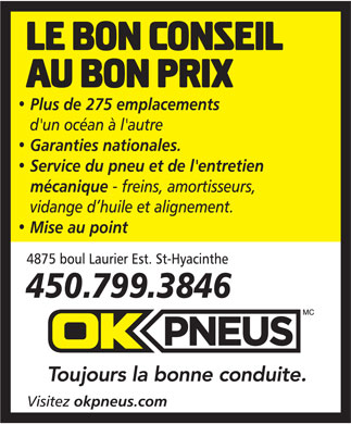 OK Pneus (450-799-3846) - Display Ad