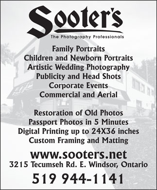 Sooters Photography (519-944-1141) - Display Ad - The Photography Professionals The Photography Professionals