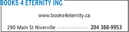 Books 4 Eternity Inc (204-388-9953) - Annonce illustrée - www.books4eternity.ca