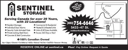 Sentinel Self-Storage (403-754-6646) - Display Ad