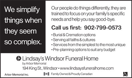 Lindsay Windsor Funeral Home & Family Reception Centre (902-799-0573) - Annonce illustrée