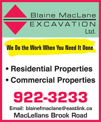 Blaine F MacLane Excavation Ltd (1-866-305-7569) - Display Ad