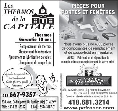 Thermos de la capitale les 830 av godin qu bec qc for Reparation de fenetre thermos