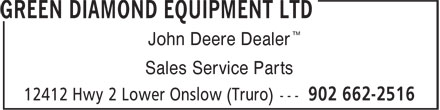 Green Diamond Equipment Ltd (902-662-2516) - Annonce illustrée - ™ John Deere Dealer Sales Service Parts
