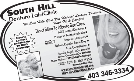 South Hill Denture Lab & Clinic (403-346-3334) - Annonce illustrée - - Denturist Rosalie Regala DD