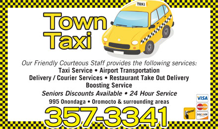 Town Taxi (506-357-3341) - Annonce illustrée - Our Friendly Courteous Staff provides the following services: Taxi Service   Airport Transportation Delivery / Courier Services   Restaurant Take Out Delivery Boosting Service Seniors Discounts Available   24 Hour Service 995 Onondaga   Oromocto & surrounding areas