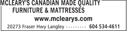 McLeary's Canadian Made Quality Furniture & Mattresses (1-888-303-4611) - Annonce illustrée - www.mclearys.com