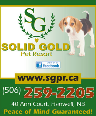 Solid Gold Pet Resort (1-888-675-6759) - Annonce illustrée - 259-2205 40 Ann Court, Hanwell, NB Peace of Mind Guaranteed! www.sgpr.ca