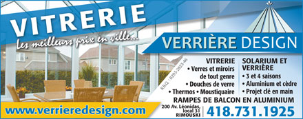 Verri re design inc 31 200 av l onidas s rimouski qc for Verriere exterieure 4 saisons