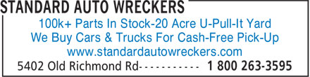 Standard Auto Wreckers (613-591-5600) - Annonce illustrée - 100k+ Parts In Stock-20 Acre U-Pull-It Yard We Buy Cars & Trucks For Cash-Free Pick-Up www.standardautowreckers.com
