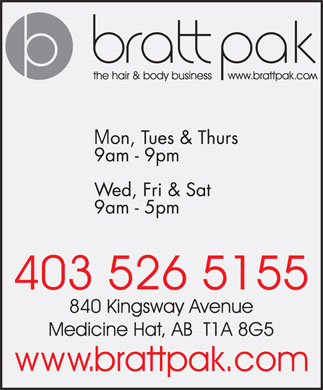 Bratt Pak The Hair & Body Business (403-526-5155) - Annonce illustrée