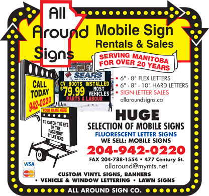 All Around Sign Co (204-942-0220) - Display Ad