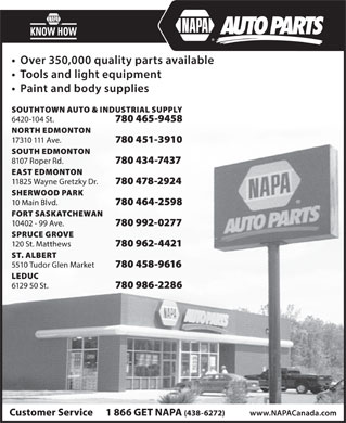 NAPA Auto Parts (780-451-3910) - Display Ad