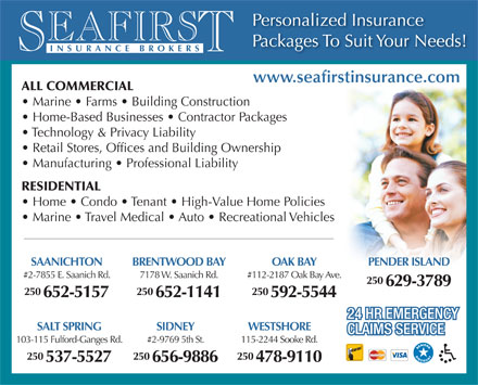 SeaFirst Insurance Brokers (250-478-9110) - Display Ad
