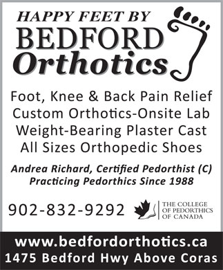 Bedford Orthotics Ltd (902-832-9292) - Display Ad - HAPPY FEET BY