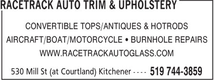 Racetrack Auto Glass & Trim (519-744-3859) - Display Ad