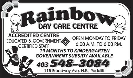 Rainbow Day Care Centre (403-548-3084) - Display Ad