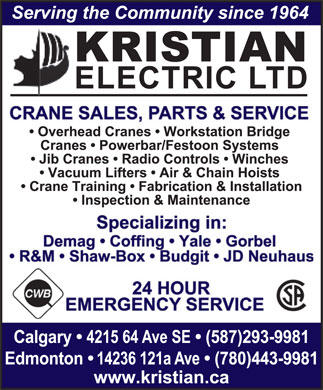 Kristian Electric Ltd (403-798-9740) - Display Ad