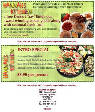 Hannah's Kitchen Restaurant & Catering (416-481-2828) - Promo